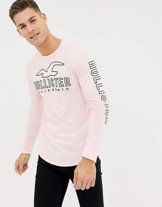 Hollister logo front and sleeve long sleeve top in pink