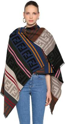 Fendi Logo Striped Wool Knit Poncho
