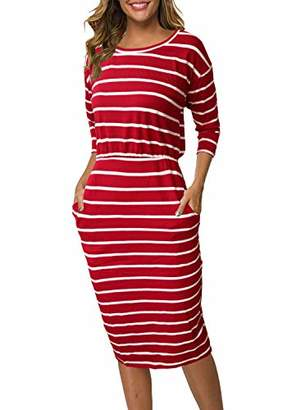 Moyabo Womens 3/4 Sleeve Pullover Stripe Round Neck Elastic Wasit Causal Dresses with Pockets