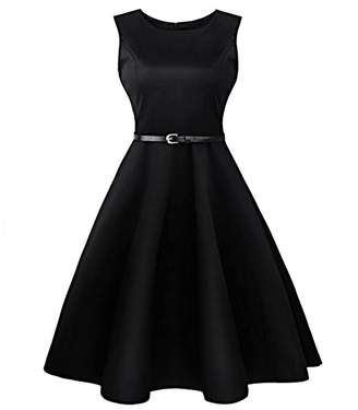 QiuLan Women Round Neck Sleeveless Solid 1950s Vintage Dress Swing Cocktail Dress Homecoming Dresses