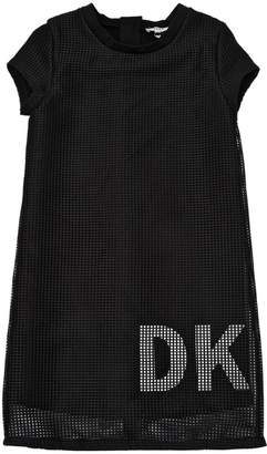 DKNY Logo Printed Mesh & Milano Jersey Dress