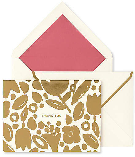 Kate Spade Set of 10 Golden Floral Thank You Cards