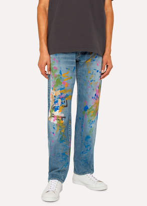 Paul Smith Men's Standard-Fit Light-Wash Red Ear Jeans With Paint Splash Detail