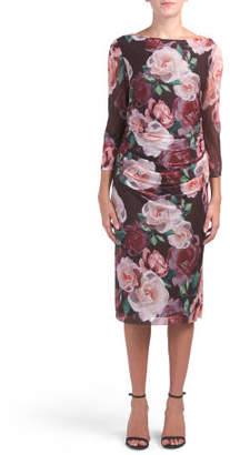 Ruched Three-quarter Sleeve Floral Dress
