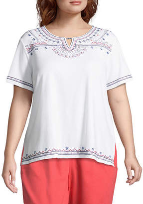 Alfred Dunner Sun City Ethnic Embroidered Tee- Plus
