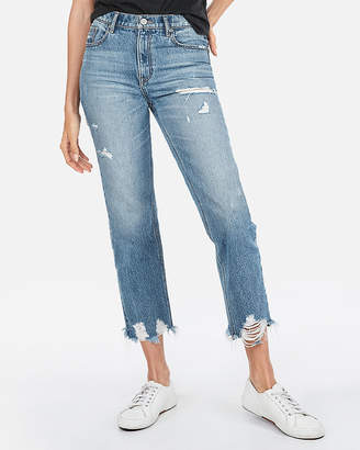 Express High Waisted Destroyed Hem Original Cropped Straight Jeans