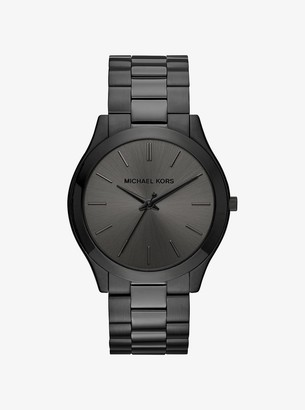 Michael Kors Slim Runway Black-Tone Stainless Steel Watch