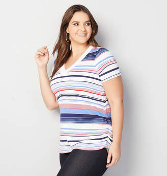 Avenue Multi Striped Side Ruched Tee