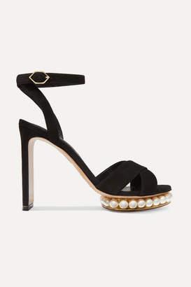 Nicholas Kirkwood Casati Faux Pearl-embellished Suede Platform Sandals - Black