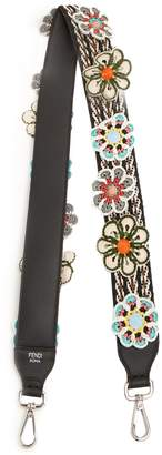 Fendi Strap You floral-macramé leather bag strap