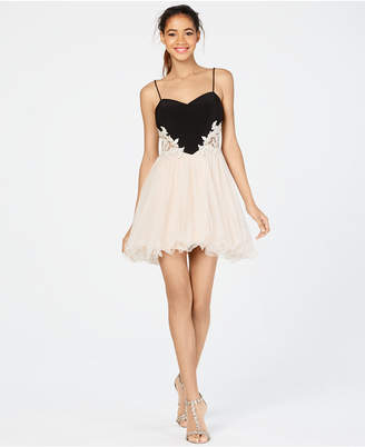 Blondie Nites Juniors' Embellished Applique Fit & Flare Dress