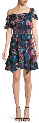 Tanya Taylor Meegan Dutch Garden Off-the-Shoulder Floral-Print Mini Dress