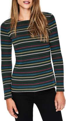 Boden Breton Sparkle Stripe Long Sleeve Cotton Blend Tee