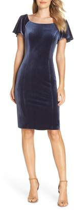 Eliza J Scoop Neck Flutter Sleeve Velvet Sheath Dress