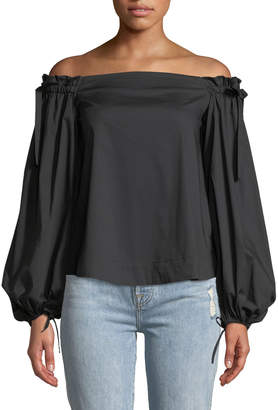 KENDALL + KYLIE Off-The-Shoulder Tie-Sleeve Blouse