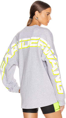 Alexander Wang Long Sleeve Logo Sweater in Heather Grey | FWRD