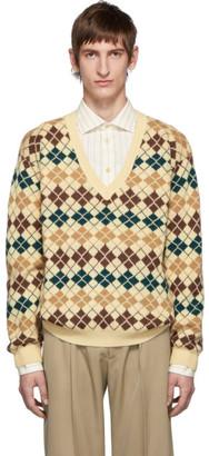Gucci Beige Argyle Wool V-Neck Sweater