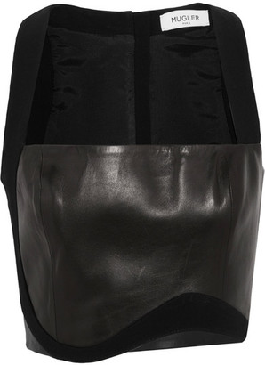 Mugler - Cropped Crepe-trimmed Leather Top - Black $1,320 thestylecure.com