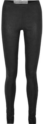 Rick Owens Textured-leather And Stretch-cotton Leggings - Black