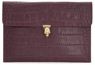 Alexander McQueen Burgundy Crocodile-effect Leather Clutch