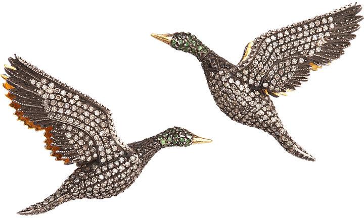 Sevan Biçakci Diamond & Garnet Bird Earrings