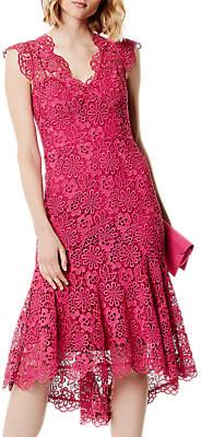 Karen Millen Peplum Hem Lace Dress, Pink
