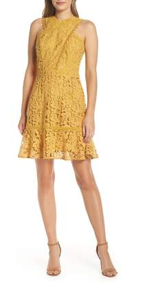 Adelyn Rae Jessie Crisscross Neck Lace Dress
