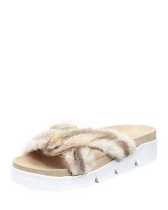Stuart Weitzman Sublime Flat Mink Fur Slide Sandal