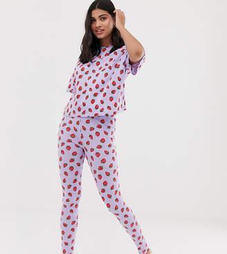 Asos Design DESIGN strawberry pyjama legging set