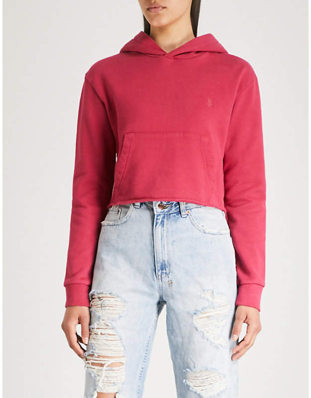 Homeslice cropped cotton-jersey hoody