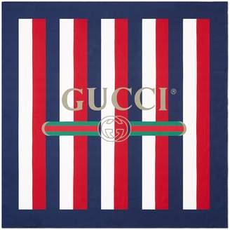 Gucci logo Sylvie stripe silk scarf
