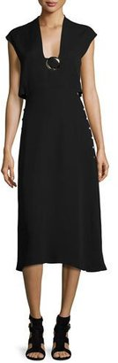 Derek Lam Buckle Sleeveless Cutout Midi Dress, Black $2,450 thestylecure.com
