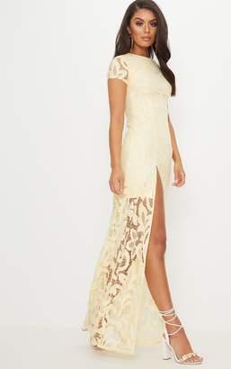 bf10952079 PrettyLittleThing Lemon Lace Cap Sleeve Extreme Split Maxi Dress