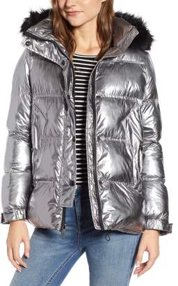 Sam Edelman Faux Fur Trim Hooded Puffer Coat