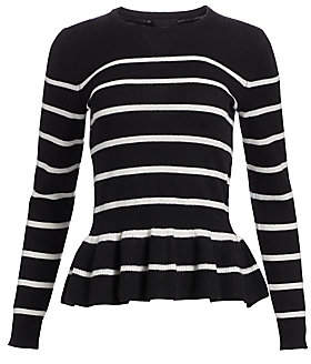 Saks Fifth Avenue Women's COLLECTION Striped Cashmere Peplum Sweater