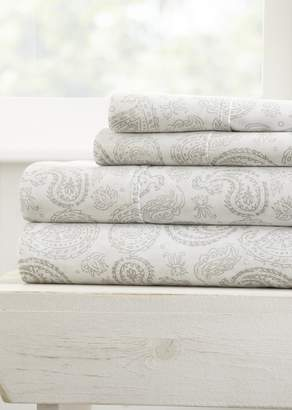 IENJOY HOME Home Spun Premium Ultra Soft Coarse Paisley Pattern 4-Piece Full Bed Sheet Set - Gray