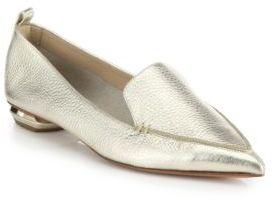 Nicholas Kirkwood Bottal Metallic Leather Point Toe Loafers $425 thestylecure.com
