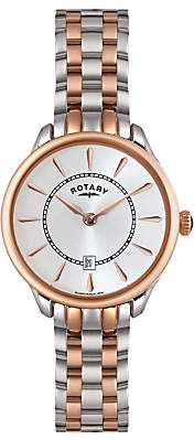 Rotary LB02917/02 Women's Elise Two Tone Bracelet Strap Watch, Rose Gold/Silver