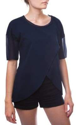 French Connection Polly Plains Asymmetrical Hem Sheer Top