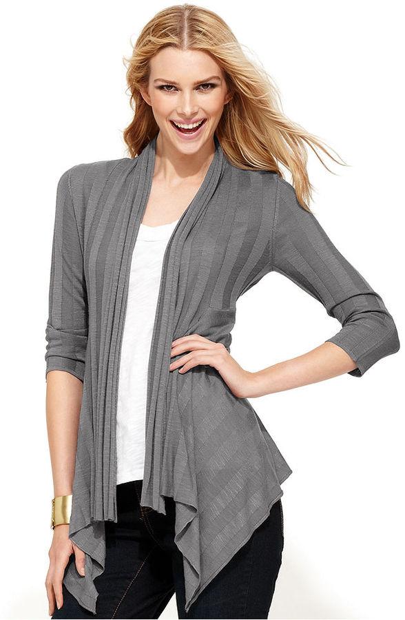 INC International Concepts Cardigan, Three-Quarter-Sleeve Draped Ribbed-Knit