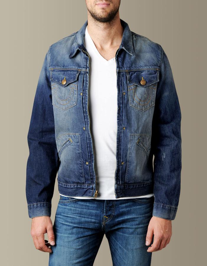 True Religion Mens Zip Front Trucker 50s Denim Jacket