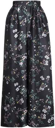 Rochas Floral satin maxi skirt