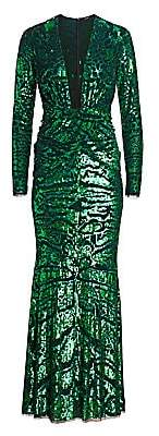 Amen Women's Leopard-Embroidered Sequin Long-Sleeve Gown