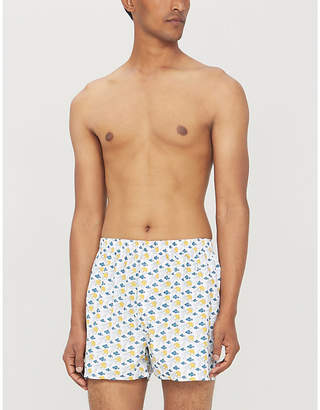 Mens White Sun & Clouds Print Regular Fit Cotton Boxer Shorts