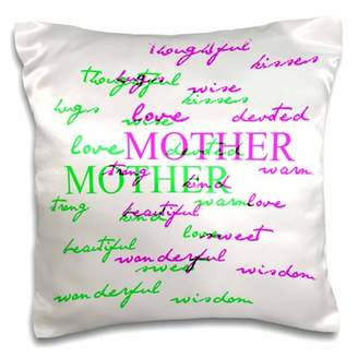 3dRose Pink and Green Mother - Inspirational Expressions - Love - Pillow Case, 16 by 16-inch
