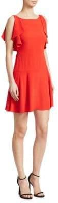 RED Valentino Crepe Flutter Sleeve Dress
