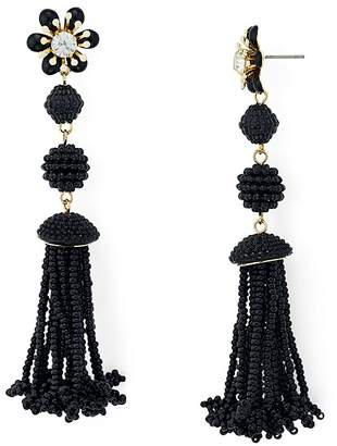 Aqua Flower Beaded Fringe Drop Earrings - 100% Exclusive