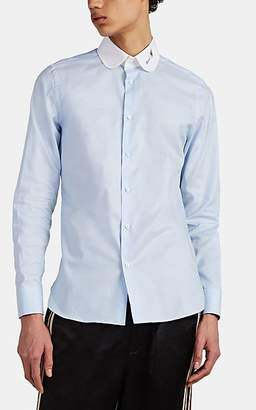 Gucci Men's Embroidered Oxford Cotton Shirt - Blue