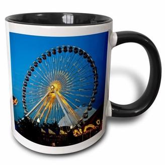 3dRose Illinois, Chicago, Ferris Wheel, Navy Pier - US14 BFR0033 - Bernard Friel - Two Tone Black Mug, 11-ounce