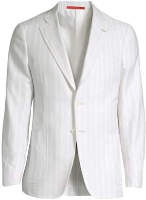 Isaia Stripe Piquet Single-Breasted Jacket